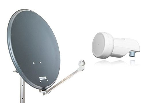 Opticum Stahl QA60 Satellitenantenne mit Single-LNB (60 cm) anthrazit
