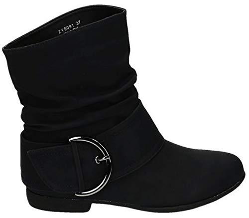 King Of Shoes Damen Stiefeletten Cowboy Western Stiefel Boots Flache Schlupfstiefel Schuhe 91 (36, Schwarz)