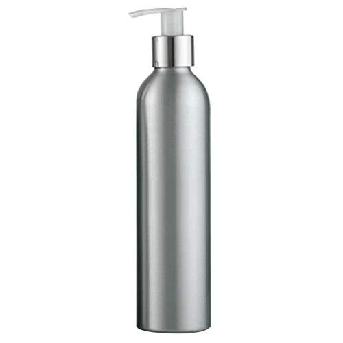 Lotion-spender-flasche (Junhouse Nachfüllbare Aluminium-Flasche zur Aufbewahrung von Shampoo Lotion Desinfektionsmittel Pumpe Behälter Spender für Zuhause Salon, Aluminium, Silber, 250 ml)