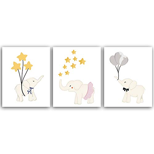 oon Mr Elefant, Miss Elefant mit Ballon Sternen Aquarell Illustration Tiere Kunstdruck, Gemälde ungerahmt, Set von 3 Kunstpostern (20,3 x 25,4 cm), Kunstwerk für Kinderzimmer ()