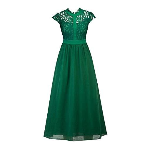 Beaulies Vintage Dress Women Sexy Lace Dress Flare Elegant Retro Dress Wedding Cocktail Swing Evening Party Dress High Collar Cap Sleeve Pleated Long Dresses Black (Green)