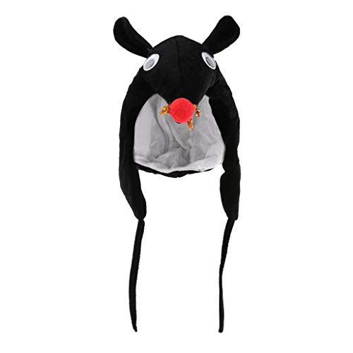 B Blesiya Plüsch-Hut Tiermütze für Kinder und Erwachsene, 6 Tiere zur Auswwahl - Schwarze Ratte, Einheitsgröße
