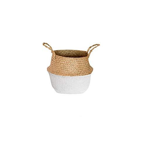 Handgefertigte Bambus Storage Baskets Faltbare Wäsche Straw Patchwork Wicker Rattan Seegras Garten Blumentopf Pflanzer Korb, Halb weiß, 32cm -