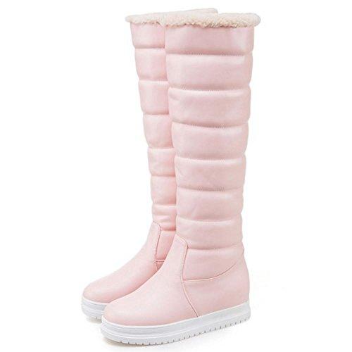 COOLCEPT Femmes Chaudes Plateforme Bottes De Neige a Enfiler Pink-2