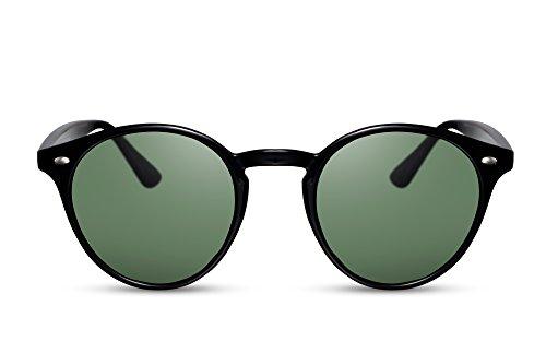 Cheapass Sonnenbrille Schwarz Rund UV-400 Retro Runde Brille Damen Herren