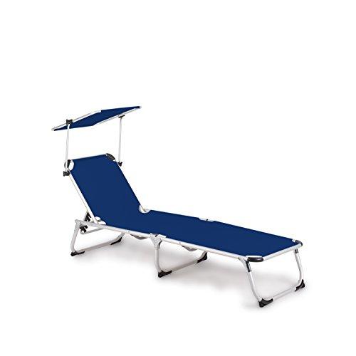 Vanage Gartenliege Sophia in blau mit Sonnendach - Sonnenliege mit Textilbezug und Dach - Liegestuhl ist klappbar - Gartenmöbel - Strandliege aus Aluminium - Relaxliege für den Garten