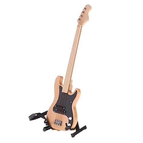 Baoblaze Miniatur Musikinstrument Holz E-Bass Modell Mit Displayständer & Riemen Dekoration Für 1/6 Puppenstube - # 2