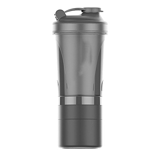 MMPY Protein Pulver Shake Cup Fitness Cup Sport Pot Compact Case Lagerung bequem und tragbar mit Karabiner (Farbe : Gray) -