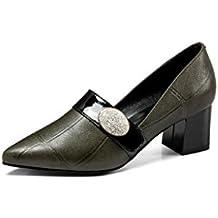 AntiGnor Puntiagudo con un Solo Zapato Mujer tacón Rugoso Rhinestone Zapatos de Mujer Nueva Primavera y