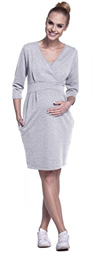 Happy Mama. Femme Robe Sweat-Shirt Allaitement Maternité Double Couches. 055p Gris Chiné