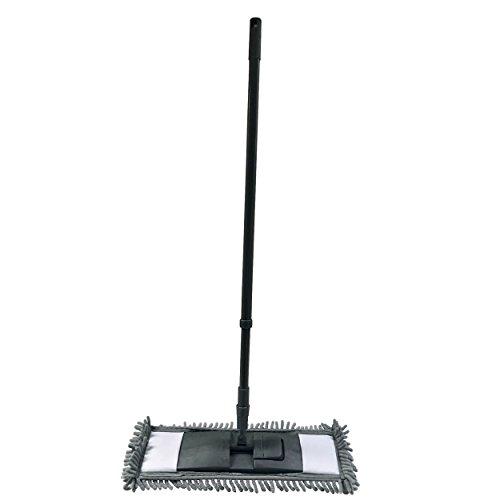 MSV Wischmop Mikrofaser Bodenreiniger Bodenwischer Reiniger Mop Teleskopstiel 68-120 cm - schwarz