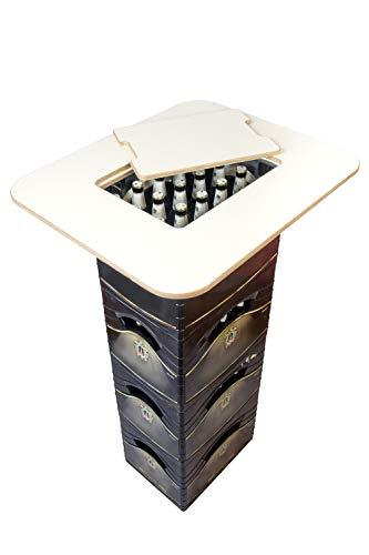 DER Bierkastentisch - nur er passt auf schmale Eurokisten und breite Bierkästen, Opt. integrierter Flaschenöffner - hochwertiges Multiplex - Stehtisch Bistrotisch Tischaufsatz (Premium White)