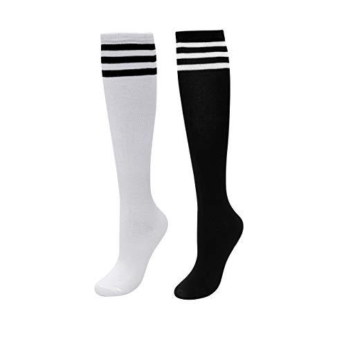 CHIC DIARY Kniestrümpfe Damen Mädchen Fußball Sport Socken College Cheerleader Kostüm Strümpfe Cosplay Streifen - Damen Fußball Kostüm