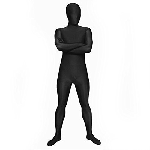 -Kostüm Unitard Full Body Strumpfhosen Zentai Supersuit Gr. 46, schwarz (Full Body Kostüm)
