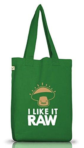 I Like It Raw, Rohkost Vegetarier Vegan Jutebeutel Stoff Tasche Earth Positive (ONE SIZE) Moss Green