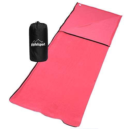 gipfelsport Sommerschlafsack - Camping Schlafsack aus Mikrofaser, Deckenschlafsack - leicht, klein, rechteckig | Fuchsia