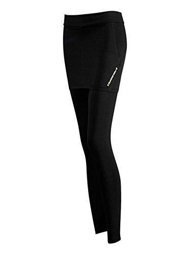 YPtong Falso Due Yoga Pantaloni Stretti Fitness Donna Yoga Sport Leggings Slim Fit Bodybuilding Allenamento Palestra Nero