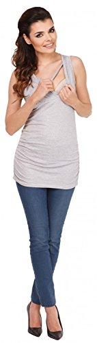 Zeta Ville - Maternité top de grossesse - Tee-shirt d'allaitement - femme - 371c Gris Chiné
