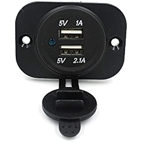Tongshi 12V encendedor de cigarrillos divisor del zócalo Dual USB cargador adaptador de corriente de salida