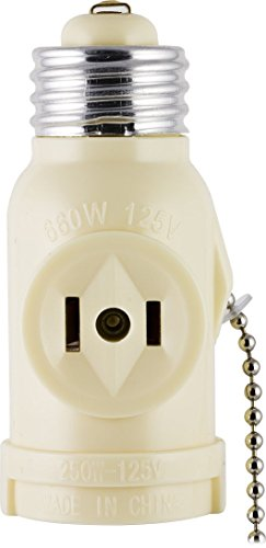 GE 54180 Socket Adapter with Pull Chain Light Control and 2 Outlet, Ivory by GE -