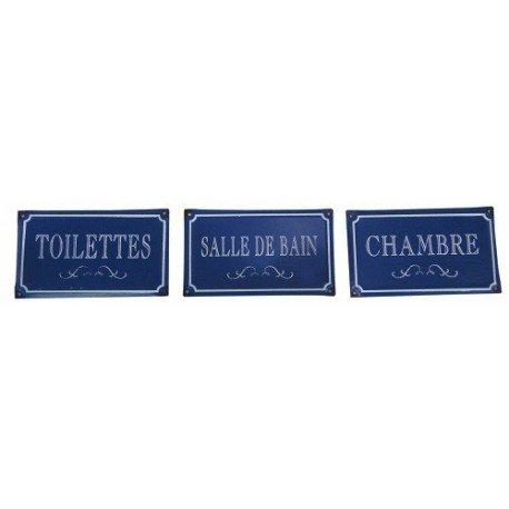 Antic Line Set de 3 plaques Bleues Toilettes Chambres sdb