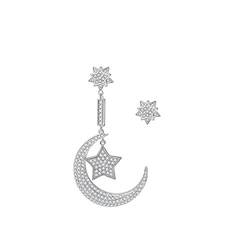 MASOP Moon&Star Mismatched Asymetric Earrings Platinum Plated Clear Cubic Zirconia Stud & Dangle Drop Earrings UbZe88jJ9