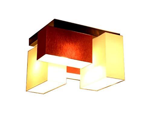 Rot-eiche-designer (Deckenlampe Deckenleuchte Milano B2/2 MIX Lampe Leuchte Top Design 4 flammig (Creme-Weinrot))