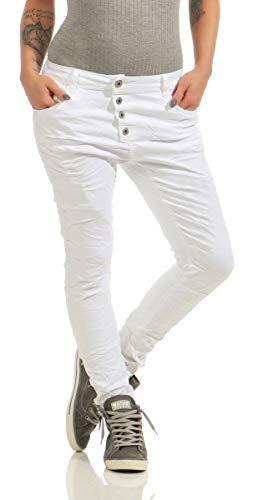 Lexxury 10118 Knackige Damen Jeans Röhrenjeans Hose Boyfriend Style Damenjeans Streetstyle (4XL/48, weiß)