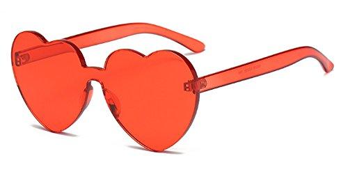 Muxplunt - Randlosbrille Herz-Art-Sonnenbrille-Frauen-Datum Klar Süßigkeit-Farben Integrierte Sonnenbrillen Plasitc Rahmen Eyewear Shades UV400 [Burgunder]