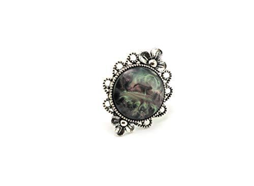 Stechschmuck Ring Handmade Opalschimmer Perlmuttschimmer Glanz Schwarz Rosa Grün Silber Antik Groß Damen Kitsch Kawaii Erweiterbar bis 20mm -