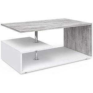 Vicco Couchtisch Guillermo Wohnzimmertisch Beistelltisch Holztisch Kaffeetisch 90 x 50 cm (Weiß-Beton)
