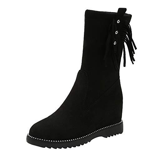 Damen Lange Stiefel Mumuj New Elegant Mädchen Flach Rutschfeste Chelsea Middle Boots Wedges Tassel Tube Wildleder Schuhe Schicke hochzeits Abend Schneestiefel