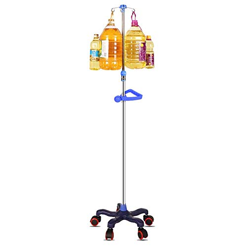 Portable cart - GR/Tragbarer Infusionsständer mit Rädern - Medizinischer Tropfständer mit Griff und 4 Haken, höhenverstellbar for Klinik und Haushalt