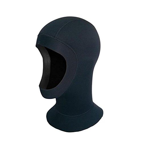 Adulte Unisexe Cagoule Bonnet de Plongée Néoprène 5mm DIY Coupe pour Plongée Natation Surf (noir, tour de tête 57-59cm)