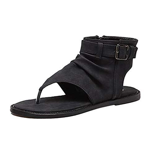 Qmber Damen Flach Flip Flops Sandalen Peeptoe Zehentrenner Sommerschuhe Elegante Schuhe Römer Knöchel Schnalle Zehentrenner/Black,35