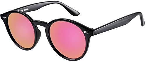 La Optica UV 400 Damen Frauen Retro Runde Sonnenbrille Round - Einzelpack Glänzend Schwarz (Gläser: Pink Rosa verspiegelt)