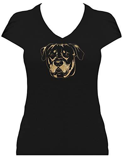 BlingelingShirts Shirt Damen Glitzer Rottweiler großes Porträt Kopf Rottweiler Hund, T-Shirt, Grösse S, schwarz Druck weiß und pink GL -