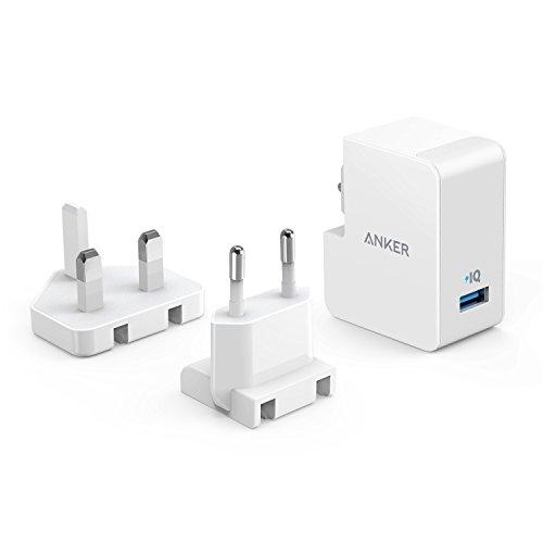Anker PowerPort 1 Caricatore da Parete 12W con Presa Intercambiabile Europea e Inglese per iPhone 6 / 6 Plus / 7 / 7 Plus, iPad Air 2 / mini 3, Galaxy Note 3 e Altri.