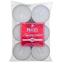 Price's - Lot de 12 bougies chauffe-plat maxi - Non parfumées - Durée de combustion de 10 heures - Cire blanche de haute…