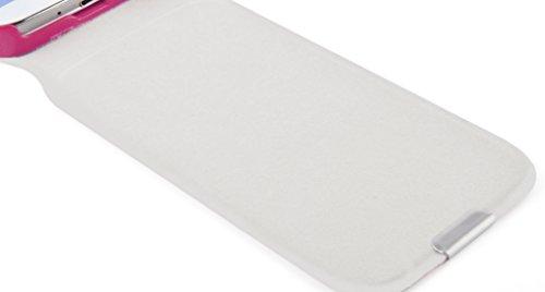 JAMMYLIZARD | Luxuriös Leder Flip Case Klapphülle für iPhone 4 / 4s, Weiß KNALLROSA