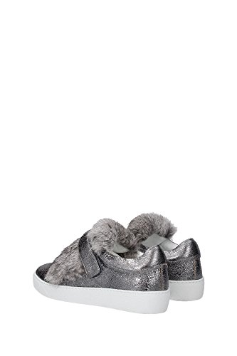 B209A201600001531104 Moncler Sneakers Femme Cuir Argent Argent