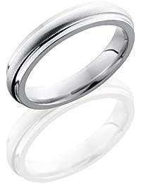 SlipRock Cobalt Chrome, High Dome Satin Center Polished Edges Wedding Band (sz H to Z1)