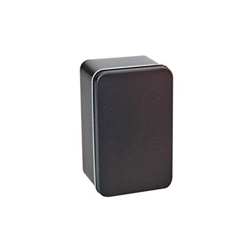 Yardwe Rechteckige Leere Blechdose Metalldose Box Container Geschenk Süßigkeiten lose Tee Speicherorganisator 13x8x6cm schwarz