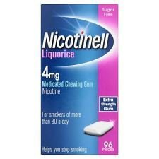 3 x Nicotinell Liquorice 4mg Medicated Chewing Gum Extra Strength Gum 96 Pieces from Nicotinell