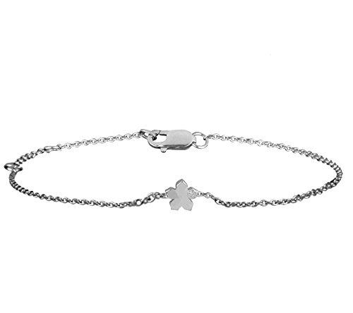 Or Blanc 9 ct Bracelet Diamant en forme de Fleur, 0.01 Ct Diamant, GH-SI, 1.53 grammes.