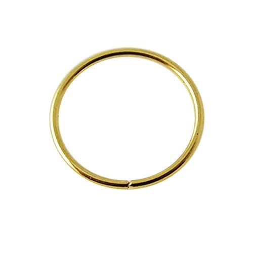 14K Solid Gelb Gold 20 Gauge - 8MM Durchmesser Nahtlose kontinuierliche offene Hoop Nasenring Nase Piercing