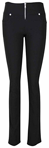 Damen Hosen Schwarz Hauteng Silber Reißverschluss Dehnbar Schwarz Freizeit 42 L31 (Plain Front Shorts Uniform)