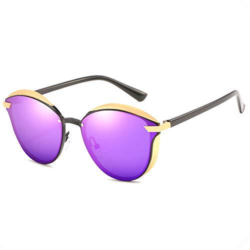 Lxc Herren/Damen Fahren Blackout Retro Sonnenbrille Strand Outdoor Reisen Radfahren Angeln Sonnenbrille UV400 UV Polarisierter Ultradünner Rahmen Gold Zeige Temperament (Farbe : Purple)