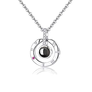 ANYOYO Women Necklace Clavicle Necklace 100 Languages I Love You Heart Pendant with 18inch Chain Best Gift Set for Her Women Mum Girlfriend Daughter Valentine's Day Mother's Day (Rose Gold/Silver)