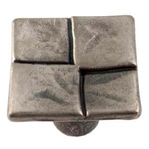 Bouton de porte et de tiroir de meuble design en zamak argent de 20x20 mm, 4KAR